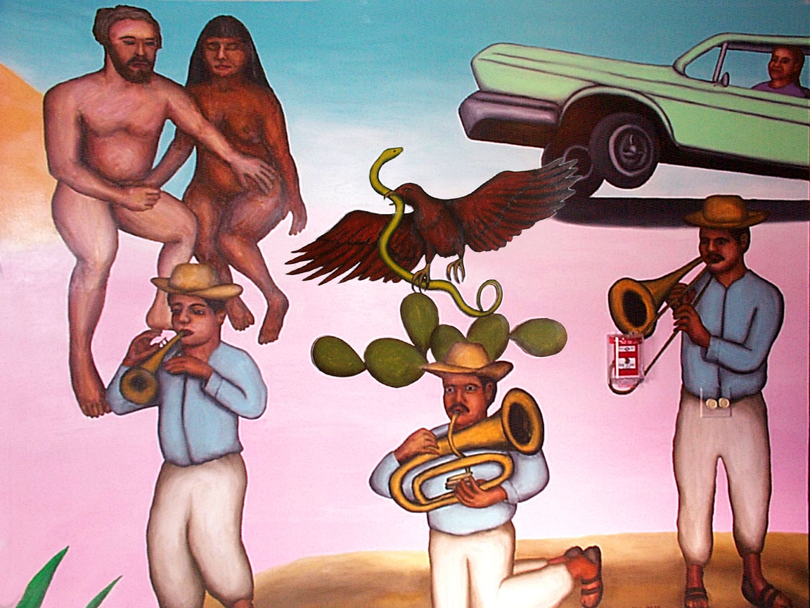 Horn players detail of Mex Restaurant Mural by Paul Dodd, in progress, 1999.