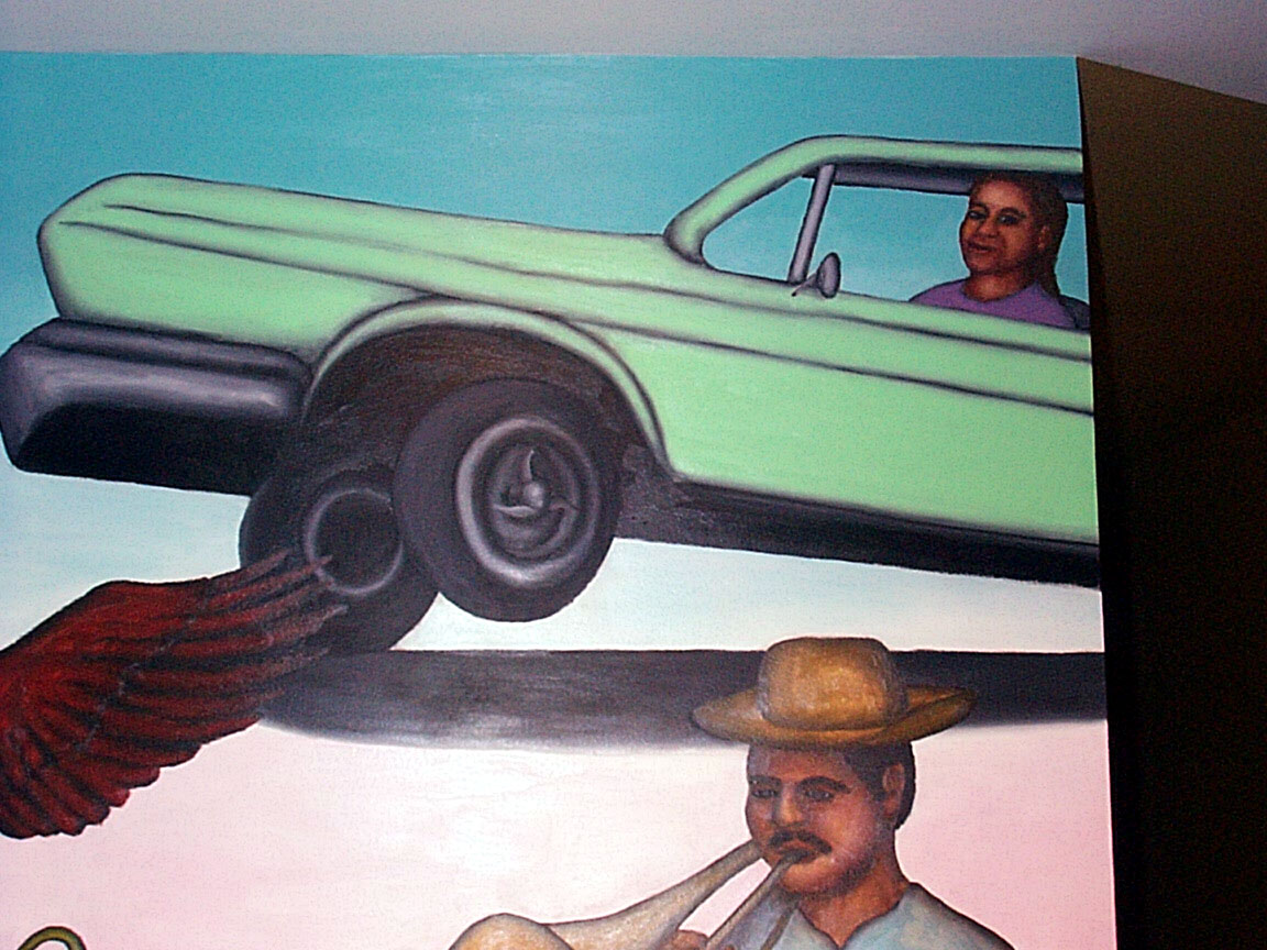 Low Rider detail of Mex Restaurant Mural by Paul Dodd, in progress, 1999.