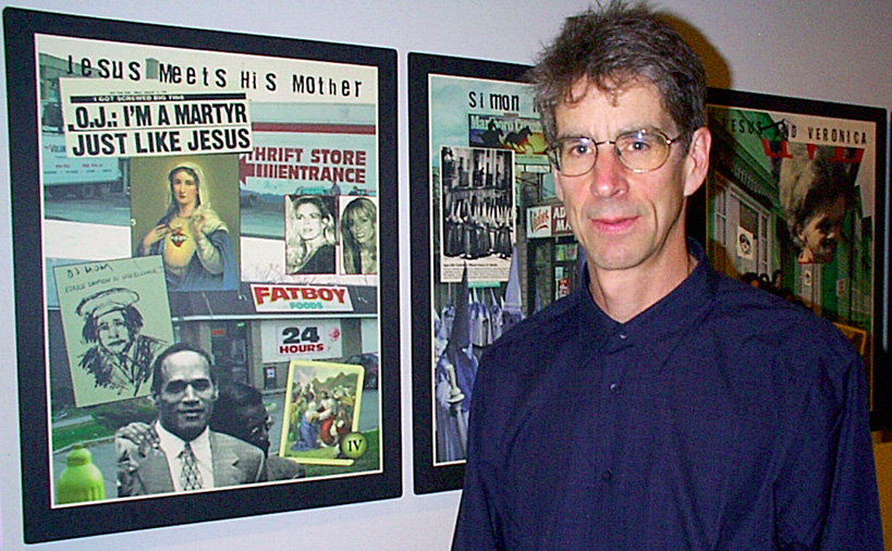 Paul Dodd with Passion Play installation at Memorial Art Gallery opening for 1999 Finger Lakes show. Photo by Leo Dodd.