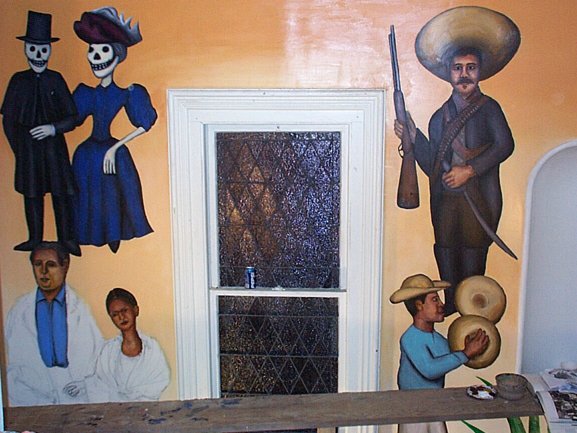 Detail of Mex Restaurant Mural by Paul Dodd, in progress, 1999.