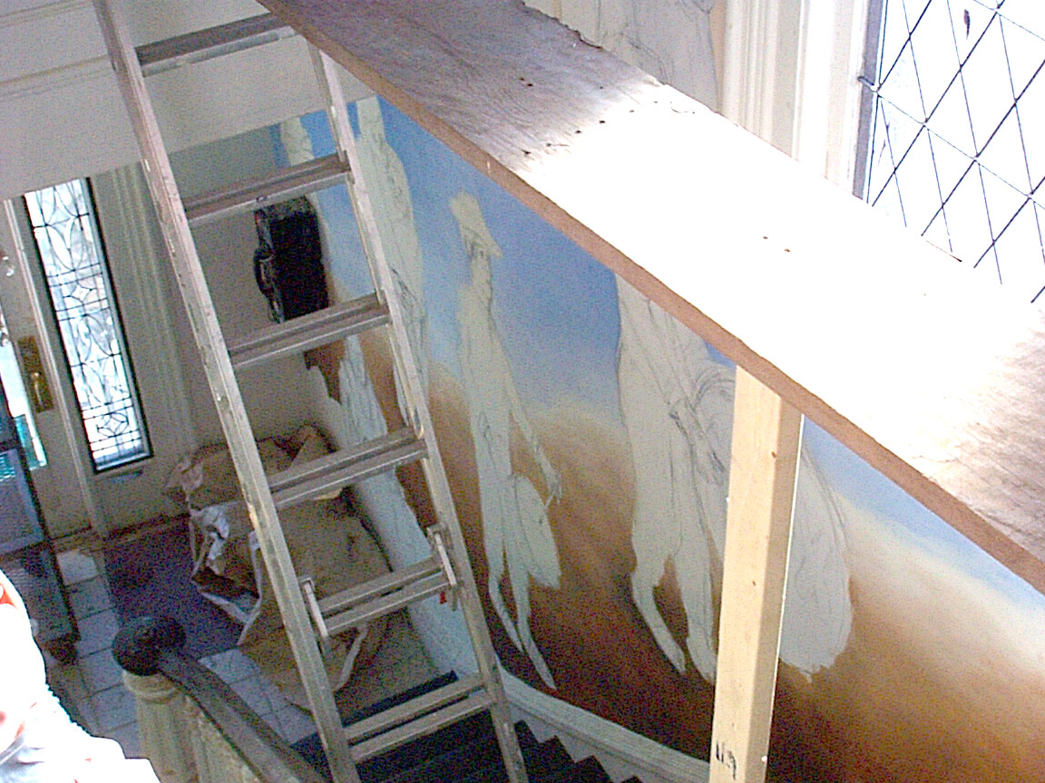 Scaffolding over stairs of Mex Restaurant Mural by Paul Dodd, in progress, 1999.