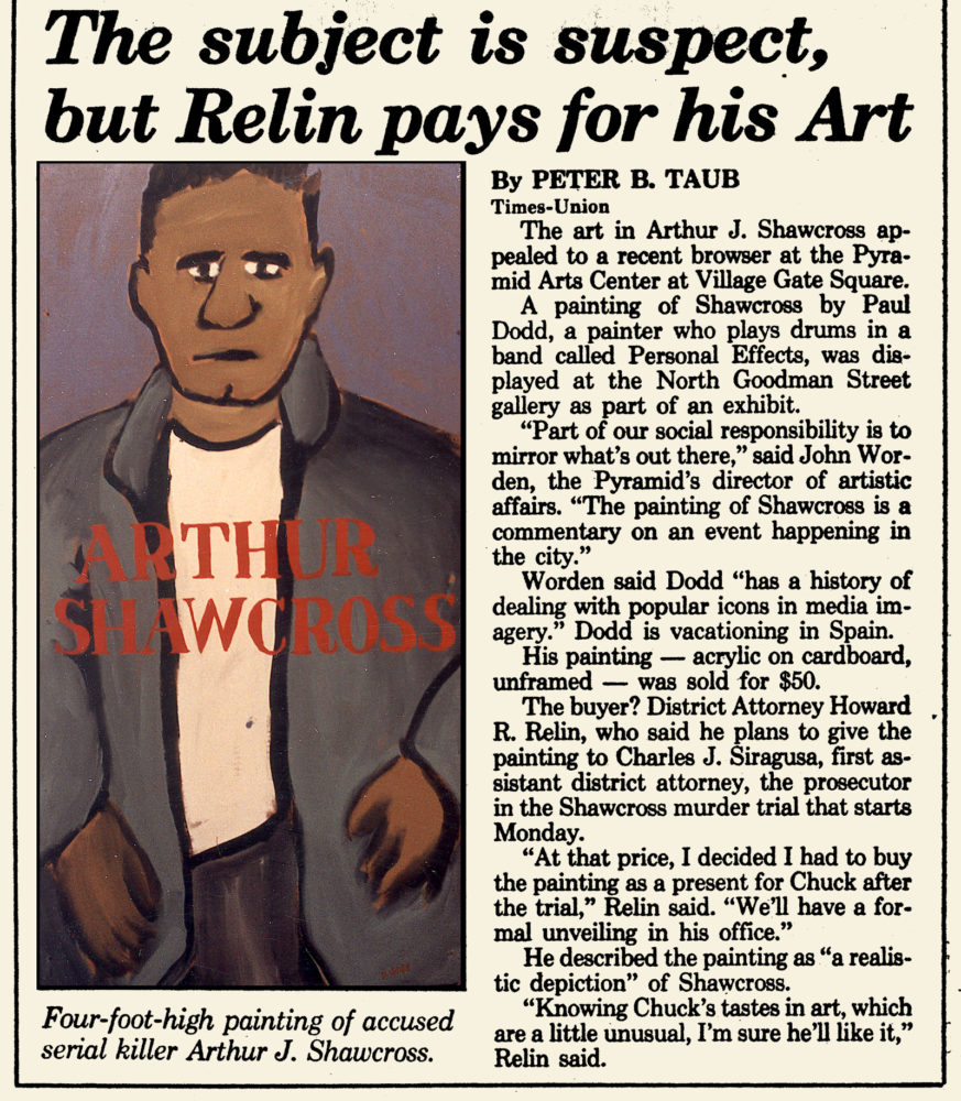 Arthur Shawcross article from Rochester Times Union with painting by Paul Dodd that Howard Relin bought for Charles Siragusa in 1990