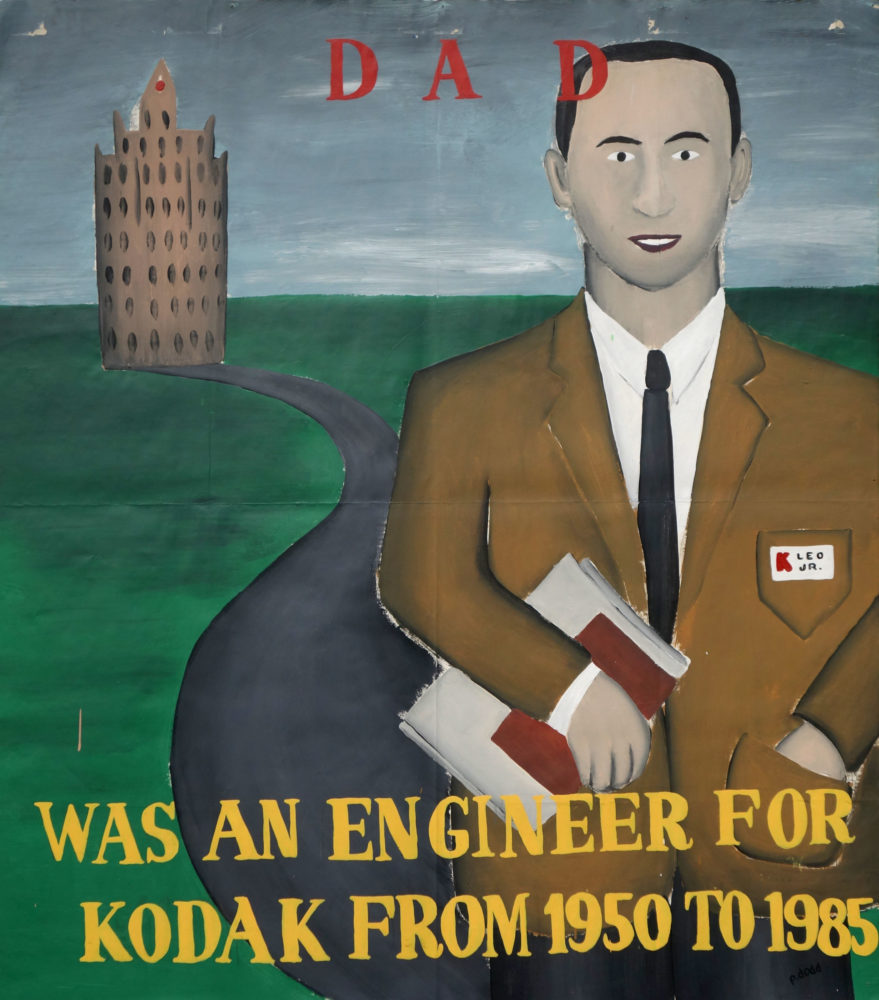 """""""Dad"""" Paul Dodd Painting from 1990 Pyramid Arts Center show entitled """"The City"""" Acrylic house paint on billboard paper, 54"""" wide by """"60"""" high"""