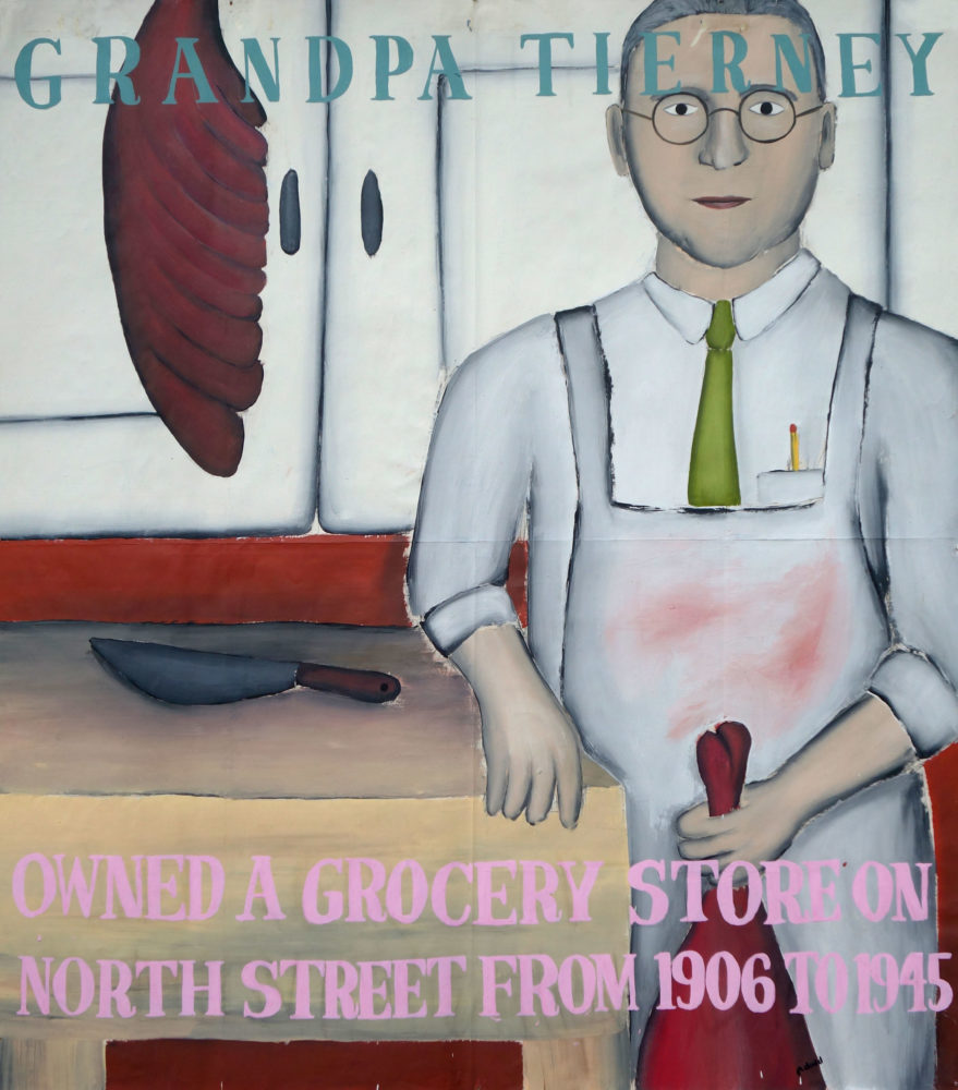 """""""Grandpa Tierney"""" Paul Dodd Painting from 1990 Pyramid Arts Center show entitled """"The City"""" Acrylic house paint on billboard paper, 54"""" wide by """"60"""" high"""