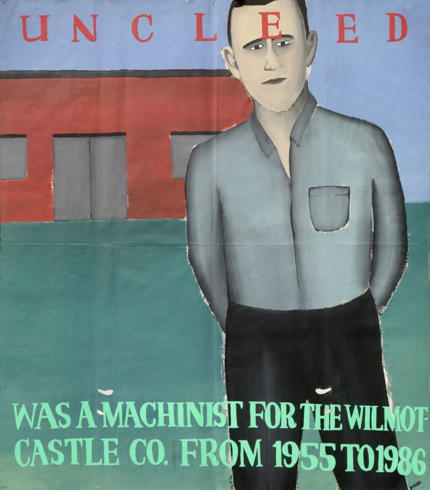 """""""Uncle Ed"""" Paul Dodd Painting from 1990 Pyramid Arts Center show entitled """"The City""""  Acrylic house paint on billboard paper, 54"""" wide by """"60"""" high"""
