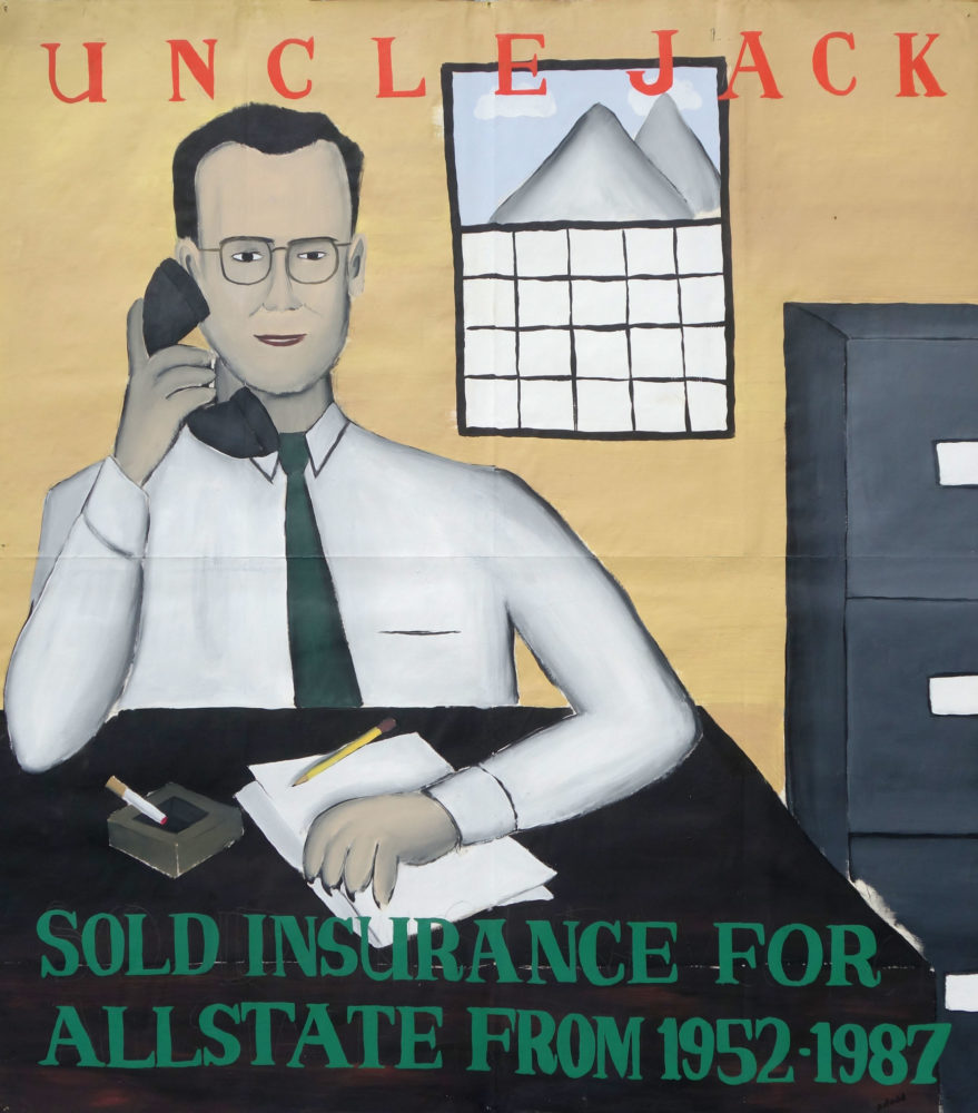 """""""Uncle Jack"""" Paul Dodd Painting from 1990 Pyramid Arts Center show entitled """"The City"""" Acrylic house paint on billboard paper, 54"""" wide by """"60"""" high"""