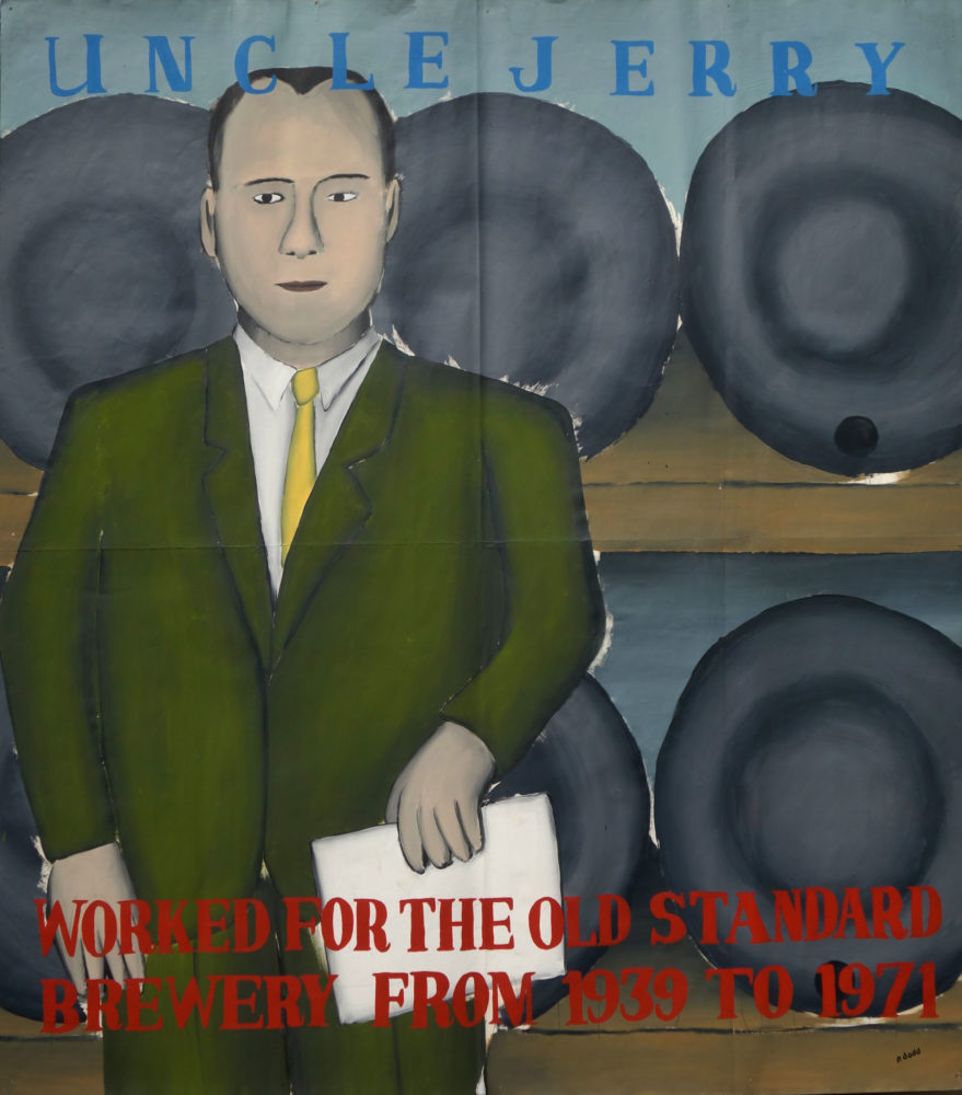 """""""Uncle Jerry"""" Paul Dodd Painting from 1990 Pyramid Arts Center show entitled """"The City"""" Acrylic house paint on billboard paper, 54"""" wide by """"60"""" high"""