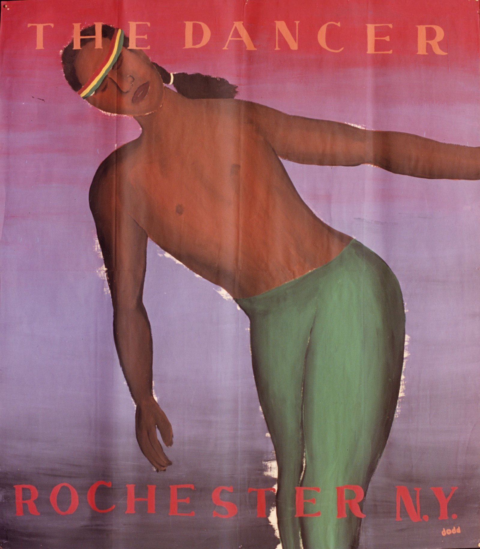 "The Dancer (Garth Fagan) from the ""Community Icons"" series by Paul Dodd. Acrylic house paint on billboard paper, 54"" wide by ""60"" high, 1989"