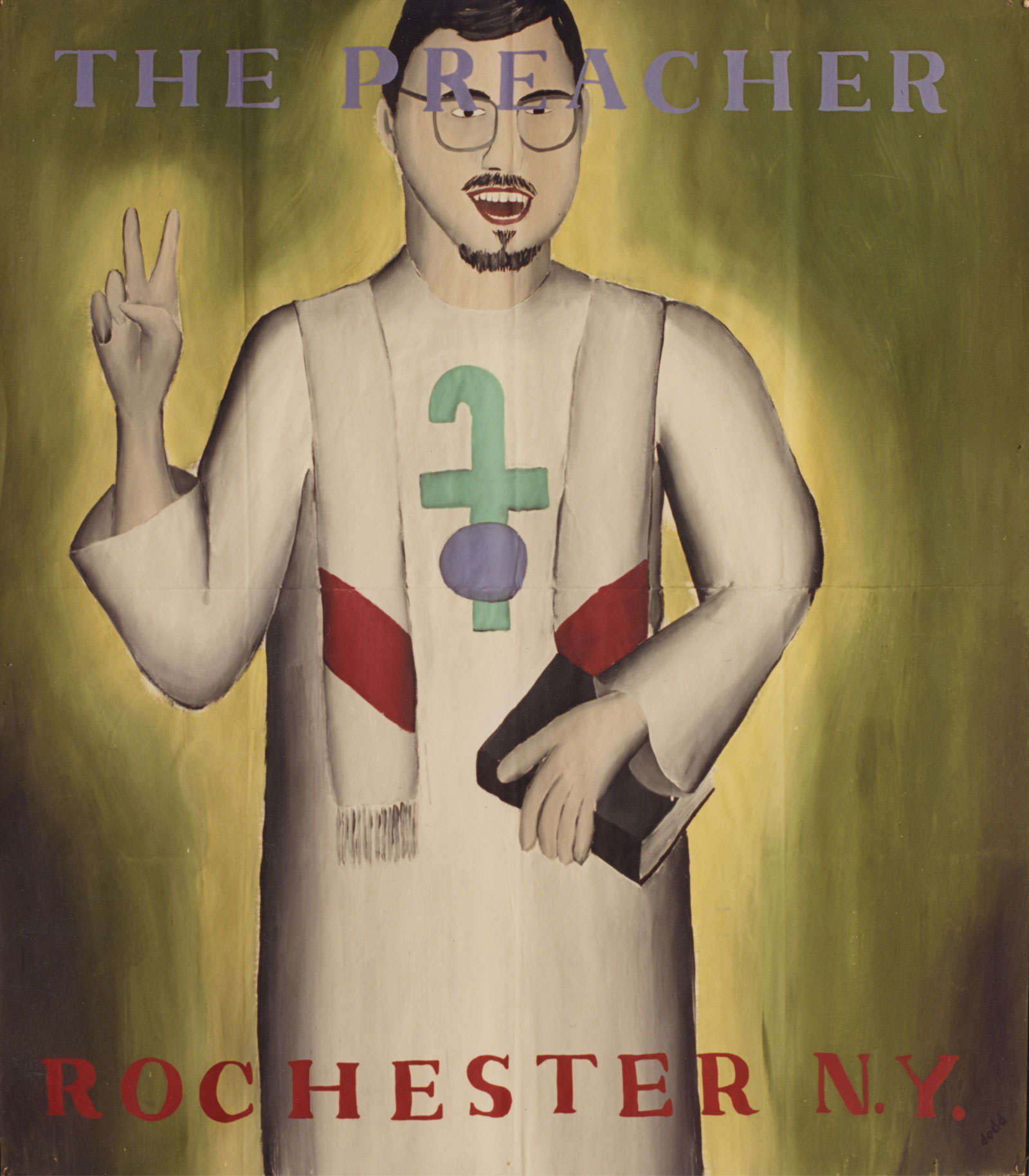 "The Preacher (Jim Hughes) from the ""Community Icons"" series by Paul Dodd. Acrylic house paint on billboard paper, 54"" wide by ""60"" high, 1989"