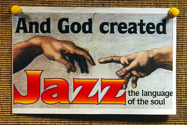 Sign inside the Lutheran Church at the 2007 Rochester International Jazz Festival