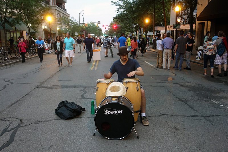 Street drummer performing at the 2015 Rochester International Jazz Festival