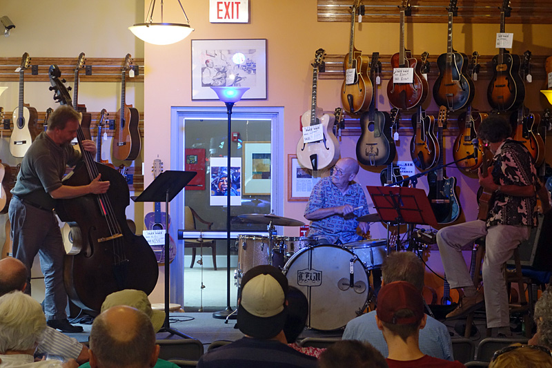 Kinloch Nelson, Dave Areneus, and Pete Monacelli performing at the 2015 Rochester International Jazz Festival