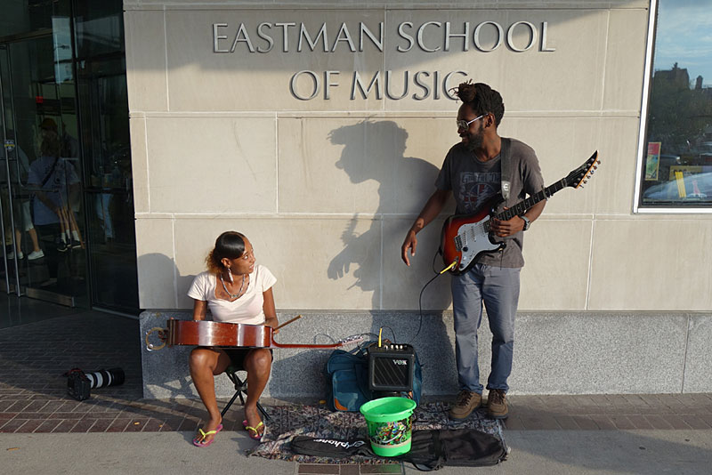 Street musicians performing at the 2016 Rochester International Jazz Festival
