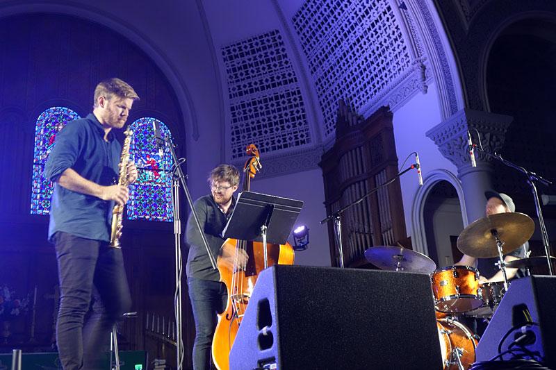 Gard Nilssen's Acoustic Unity performing at the 2017 Rochester International Jazz Festival