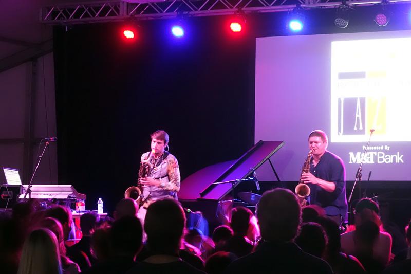 Moon Hooch performing at the 2018 Rochester International Jazz Festival