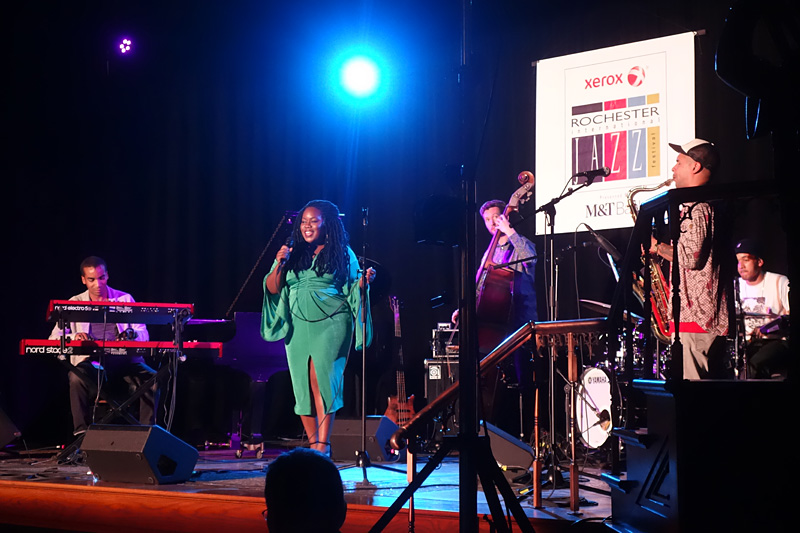 Zara Mcfarlane performing at the 2018 Rochester International Jazz Festival
