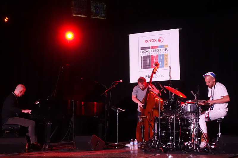Mark Lewandowski Trio performing at the 2018 Rochester International Jazz Festival