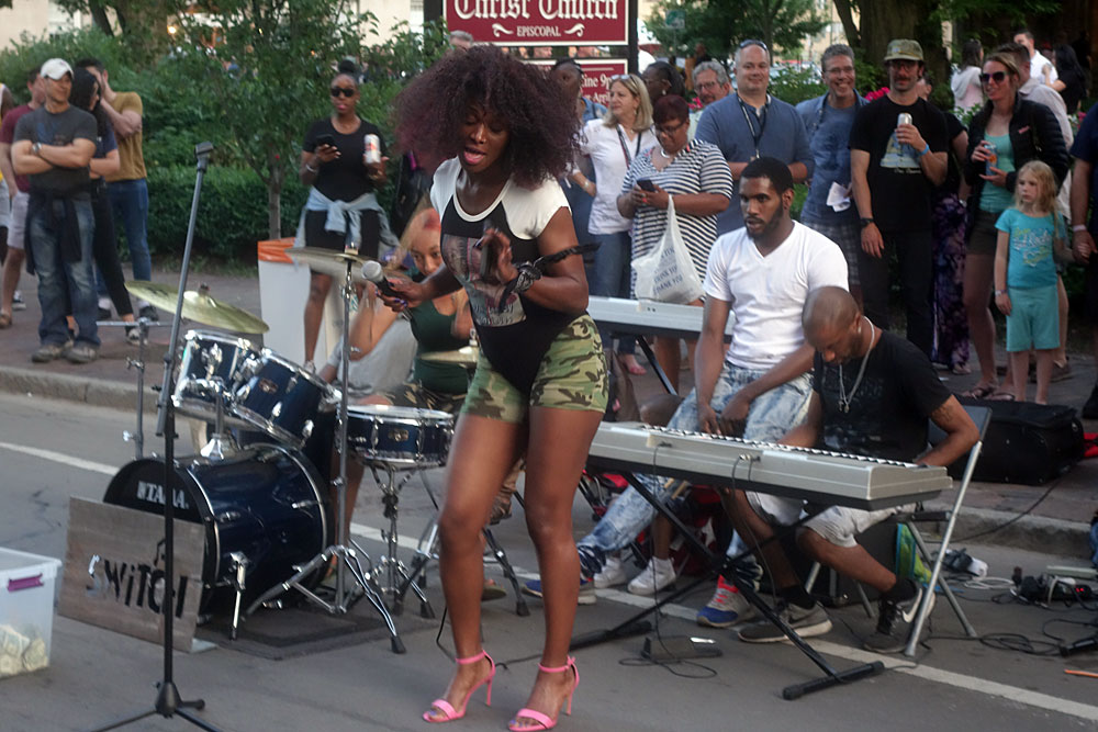 Switch, street band, performing at the 2019 Rochester International Jazz Festival