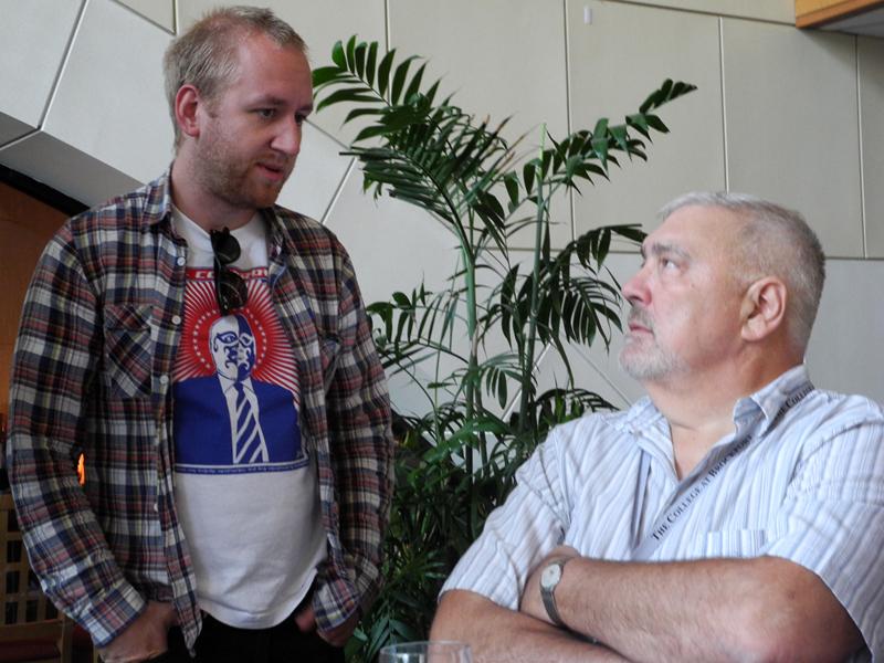 Jonas Kullhammar talking to Jack Garner at the 2011 Rochester International Jazz Festival