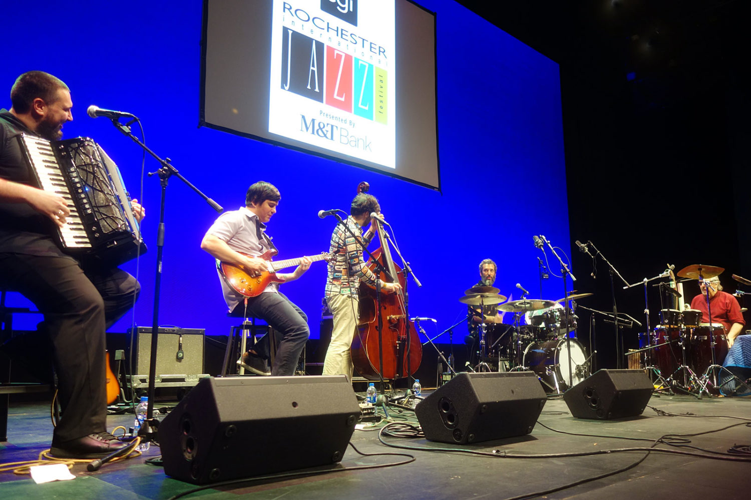 Cyro Baptista performing at Geva Theater during the 2019 Rochester International Jazz Festival