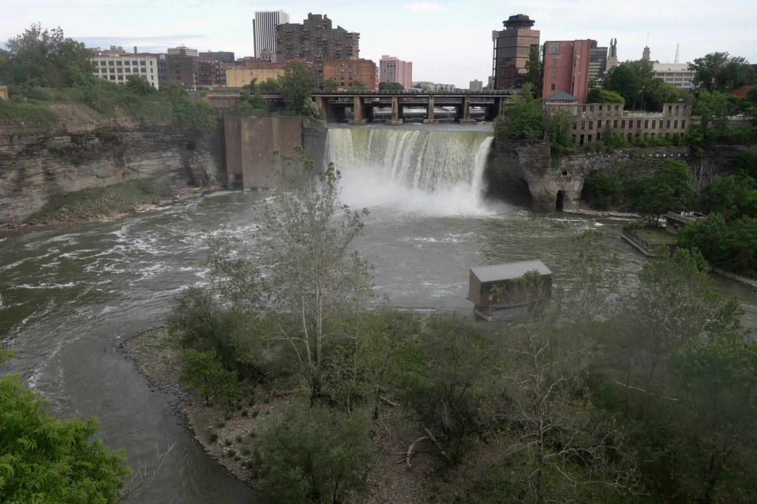 View of High Falls from Genesee Brewery on Saint Paul Boulevard in Rochester, New York