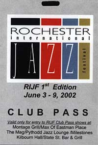 Rochester International Jazz Festival pass 2002