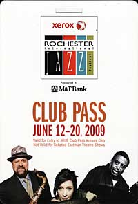 Rochester International Jazz Festival pass 2009