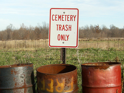 Cemetery Trash sign