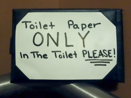 Toilet Paper Only sign