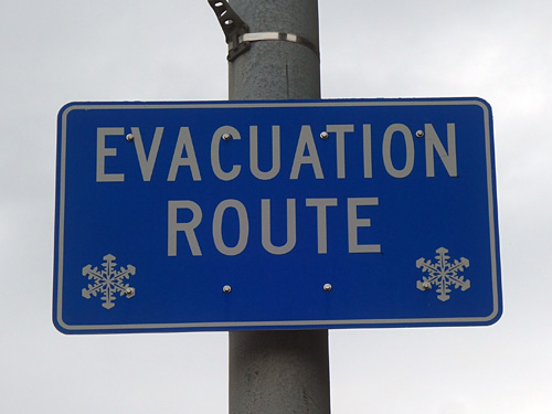 Evacuation Route sign in Buffalo, New York