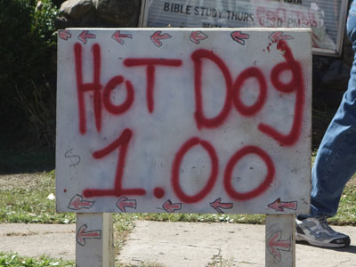 Hot Dog One Dollar sign