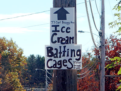 Ice  Cream Batting Cages sign