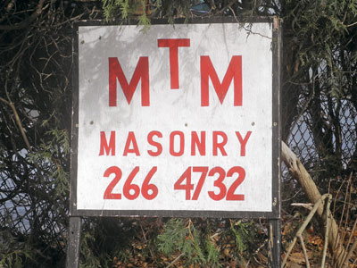 MTM Masonry Sign