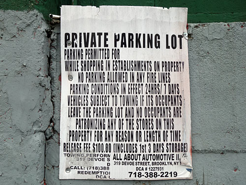 No Parking Condensed Version sign