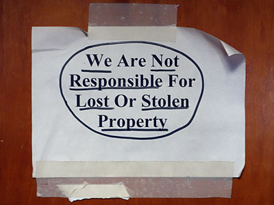 Not Responsible Sign with Underline