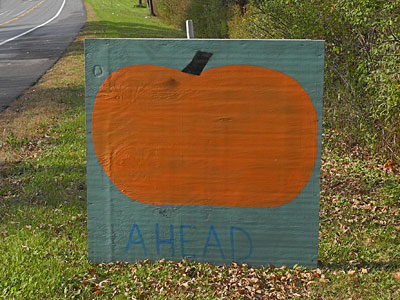 Pumpkin Ahead Sign