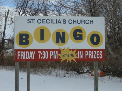 St Cecillia's Bingo sign