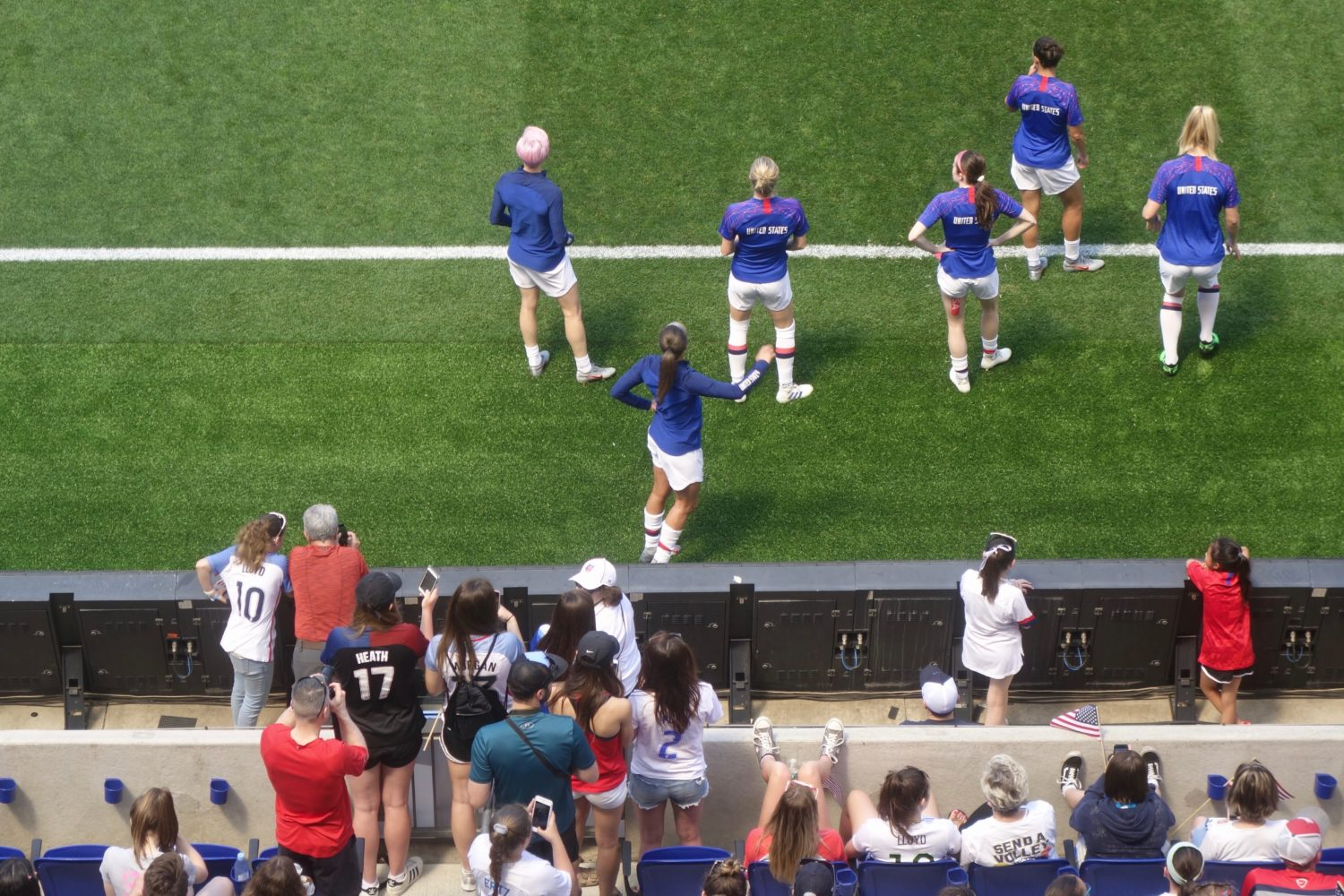 US Women's Nations team at Red Bull Stadium in May 2019. Rapino, Heath, Sonnet, Lavelle, Lloyd and Mewis