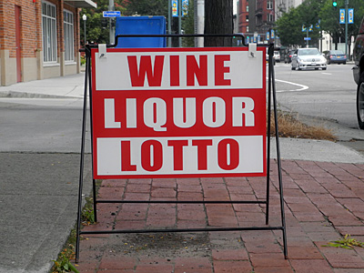 Wine Liquor Lotto sign
