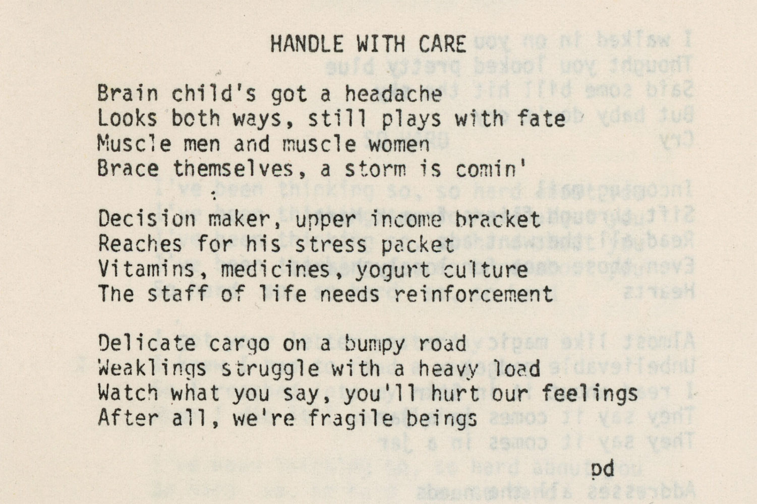 "Hi-Tech's lyrics ""Handle With Care"" by Paul Dodd"