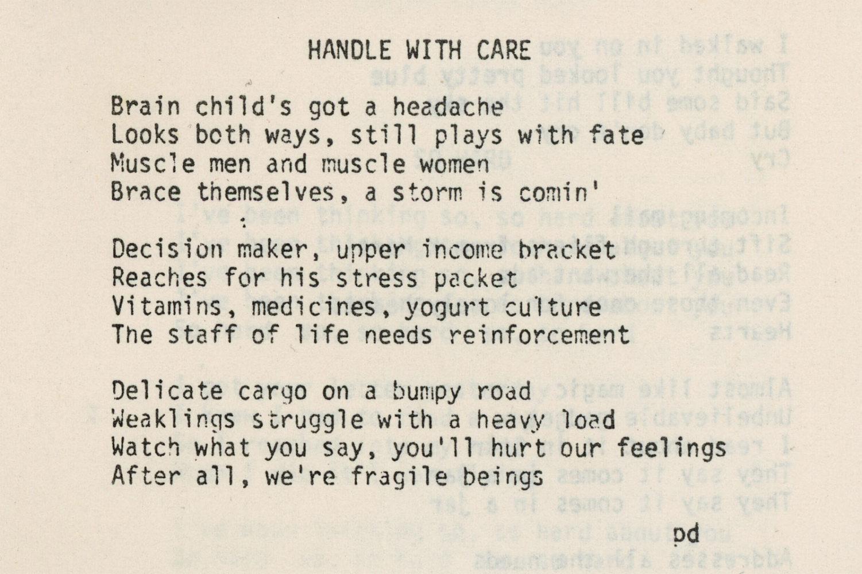 "Hi-Tech's lyrics ""Handle With Care"" by Paul Dodd"