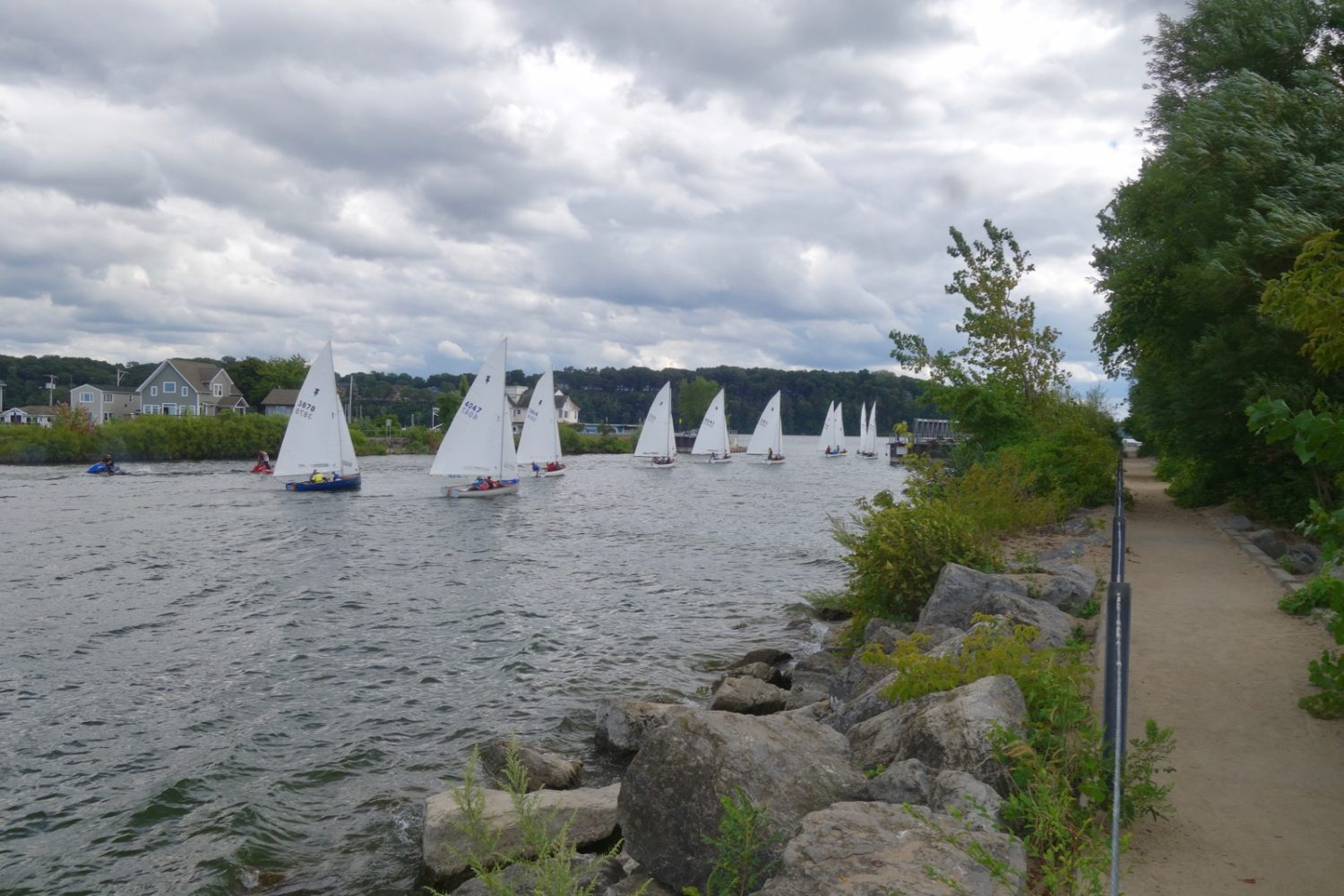 Sailboats returning to Irondequoit Bay in Sea Breeze, New York