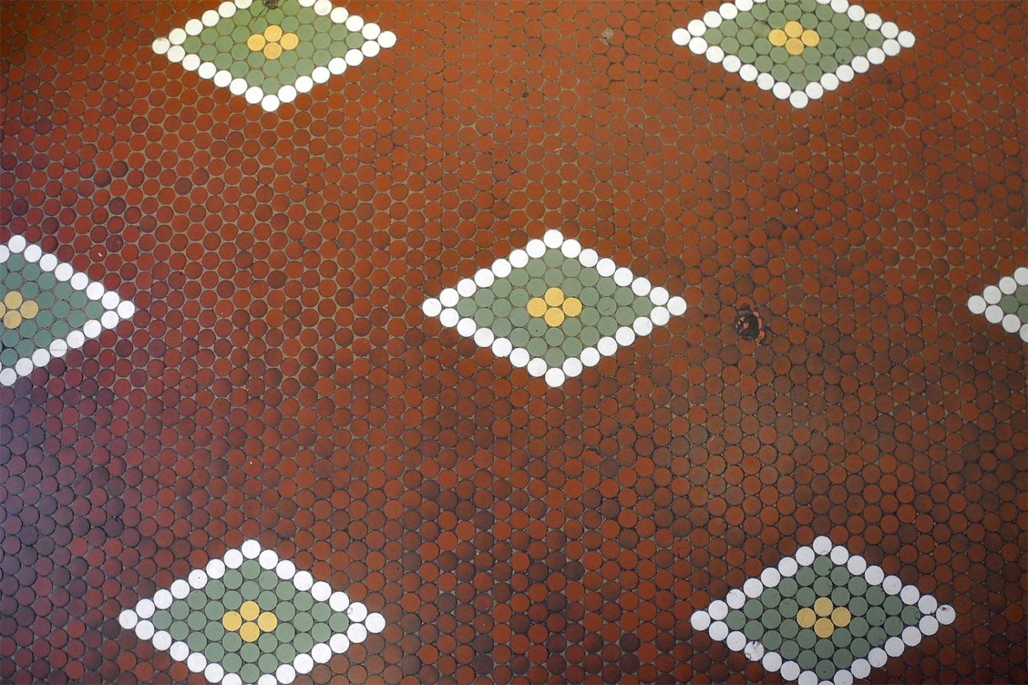 Tile floor in Tierney Market at South Clinton and Caroline Street in Rochester, New York