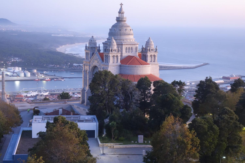 Templo de Santa Luzia and coast of Portugal as seen from our hotel in Viana do Castelo.