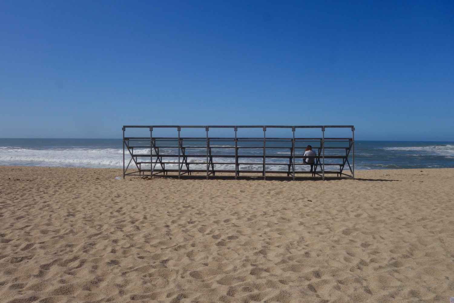 Bleachers on beach in Portugal