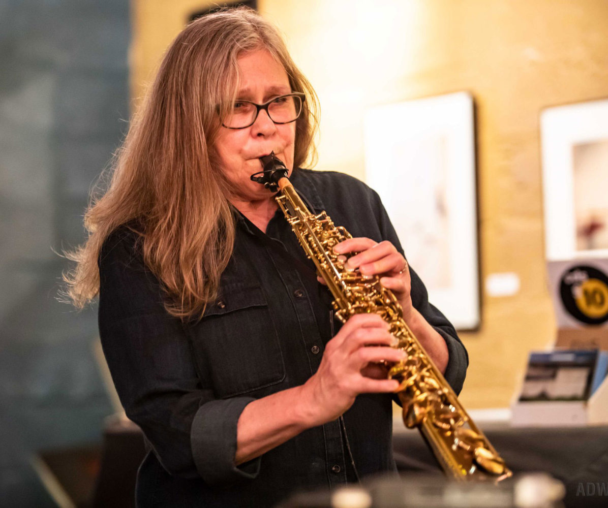 Peggi Fournier playing soprano sax with Margaret Explosion. Photo by Aaron Winters