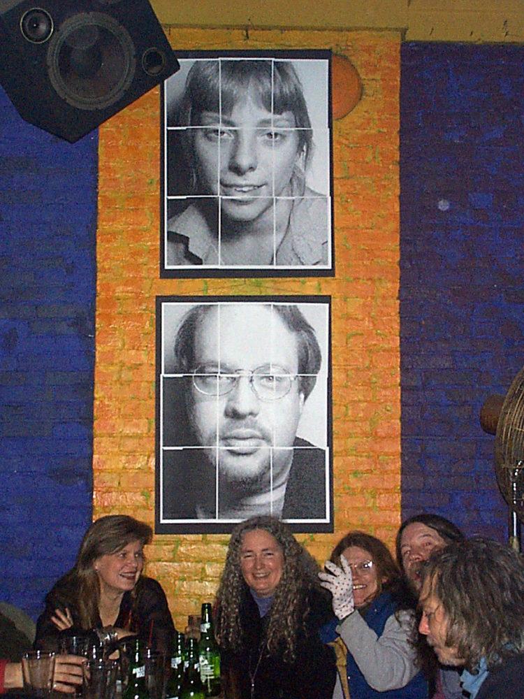 Katherine Denison, Geri McCormick, Helley, `Bill Jones and Pete LaBonne at Paul Dodd Mugshot Show opening, Bug Jar, Rochester New York 1998