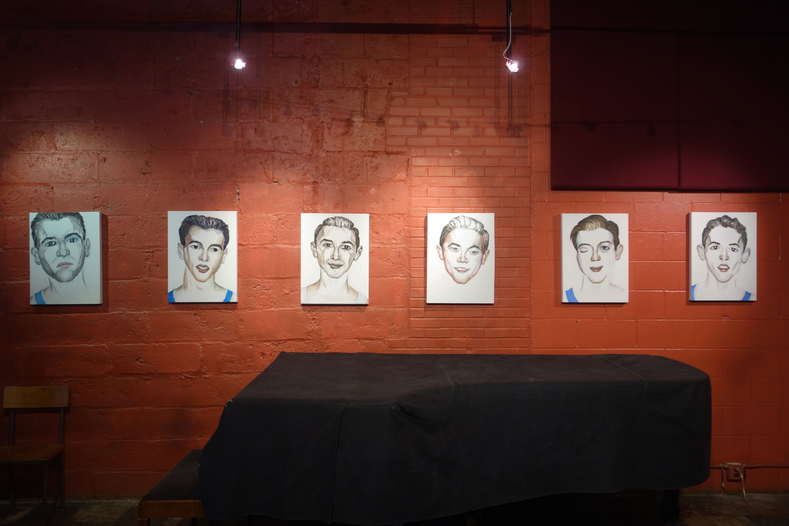 "Installation shot of 6 Paul Dodd ""Basketball Players"" at Little Theater Café 2015 18""x 24"" oil on canvas"