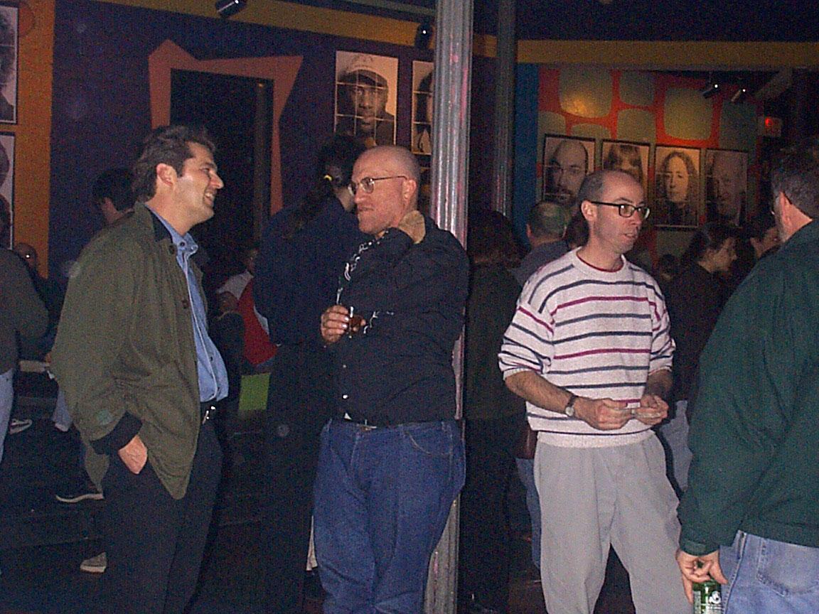 Bill Sauer, Pat Mosch and Martin Edic at Paul Dodd Mugshot Show opening, Bug Jar, Rochester New York 1998
