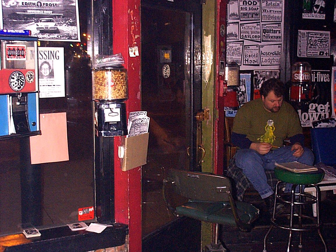 Todd, doorman at Paul Dodd Mugshot Show opening, Bug Jar, Rochester New York 1998